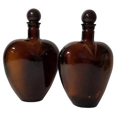 Paul Masson - Two Amber Heart Shaped Glass Liquor Decanters