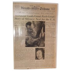 New York Herald Tribune, Saturday May 6, 1961 - Astronaut 'Looks Great, Feels Great'; Story of Odyssey