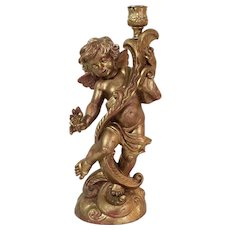 "Fontanini Gold Cherub Angel Candle Holder #5627, Italy 12"""