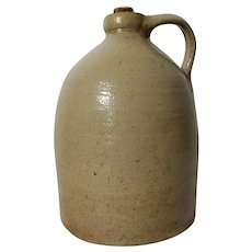 Old Whisky Salt Glaze Stoneware Jug / Crock With Handle & Cork