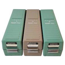Kodak Ready-File, Three Slide Containers, Aqua & Brown