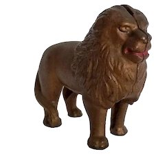 Vintage Cast Iron Gold Tone Lion Still Coin Bank Red Lips