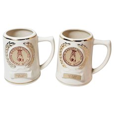 Basset Hound Club Pair Ceramic Trophy Mugs Second Place Bitches