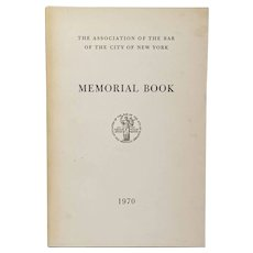 City Of New York Bar Association, 1970 Memorial Book
