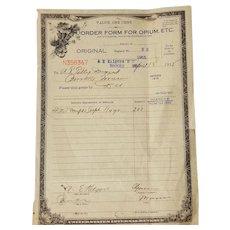 Order Form For Opium, ETC.  Series 1915, A E Kilgore, MD. Brooks, ME