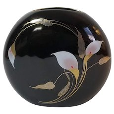 Otagiri Vase Round Think Glossy Black With Purple Calla Lily & Gold Leaf Detail, Japan