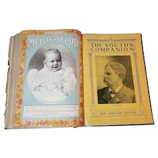 Perry Mason Co., 1898. Youth's Companion New England Edition Twelve Complete Newspapers In Large Hardcover Folio