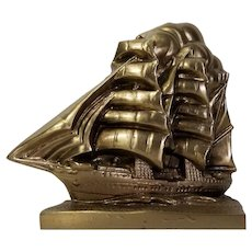 PM Craftsman Brass Colored Ship Boat Nautical Bookend / Doorstop