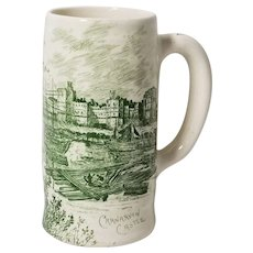 Royal Staffordshire Pottery, A.J. Wilkinson Carnarvon Castle Mug / Stein, Green Transferware
