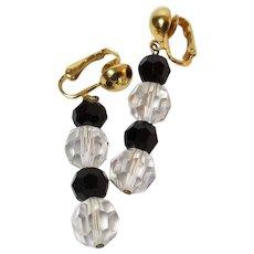 S.A.L Swarovski Crystal / Black / Gold Tone Dangle Clip On Earrings