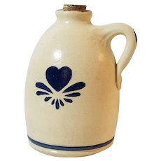 Olde Cape Cod Stoneware Pottery 1987 Jug With Blue Heart