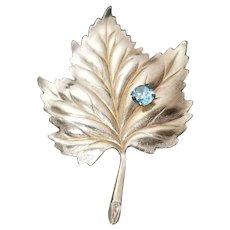 TAYLORD Gold Filled 1/20 12K LEAF Brooch Pin Signed TAYLORD Vintage Aquamarine Rhinestone