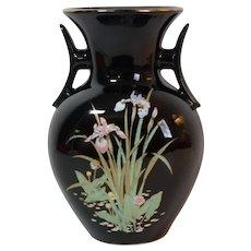 Otagiri Kenzan Gama 謙山窯 Black Dual Handled Vase With Iris Flowers