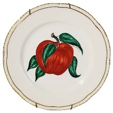 Victoria Flemming Signed Hand Painted APPLE On Homer Laughlin Plate