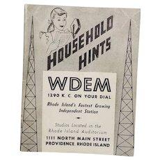 1949 Radio Booklet / Schedule / Radio Personalities / Household Hints WDEM Providence, Rhode Island