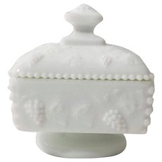 Westmoreland Milk Glass Grape Beaded Lidded Dish