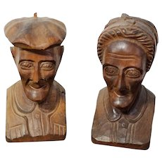 Carved Black Forest Wood Bookends Old Man & Old Women