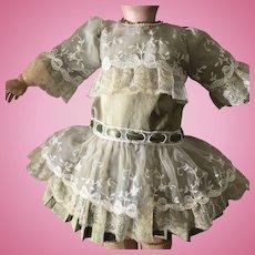 Dupioni silk dress for antique doll