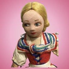 Vintage Norah Wellings Cloth Doll Swedish Girl