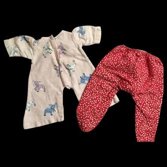 Vintage flannel pajamas for vintage doll