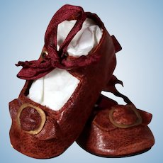 Brown Leather Bebe Shoes with Silk Ties,  2.1 inches