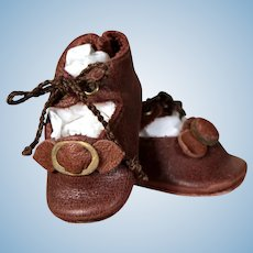 Brown Leather Bebe Shoes with corded Ties,  2.2 inches