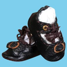 Tiny Black Leather Shoes for Petite Bebe, 1 inch