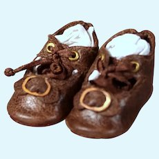 Tiny Brown Leather Shoes for Petite Bebe Size 2, 1.25 inch