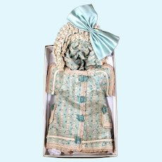 Printed Cotton Frock and Matching Bonnet for 12 inch Bebe