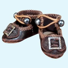 Small Leather Shoes for Bru Bebe, 1.6 inches