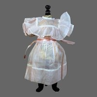"Pink Organdy Dress for 1900's Doll, 14.5"" Long"