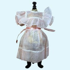 """Pink Organdy Dress for 1900's Doll, 14.5"""" Long"""