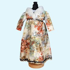 Renaissance Style Printed Cotton Dress,  12 inches long