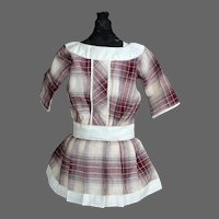German Child Plaid Cotton Dress, 12 inches long
