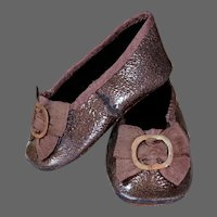 Huret Brown Leather Slippers  for Antique Doll 18 inches