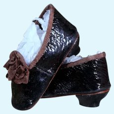 Huret Heeled Leather Slippers  for Antique Doll, 18 inches