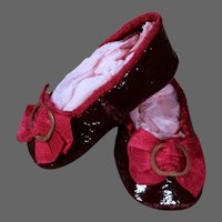 Huret Burgundy Patent Leather Slippers for Antique Doll 18 inches