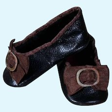 Huret Black Leather Slippers  for Antique Doll 18 inches