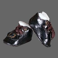 Black Leather Bebe Shoes - 1.4 inches