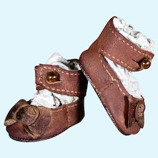 Brown Leather Bebe Shoes - 1.4 inches