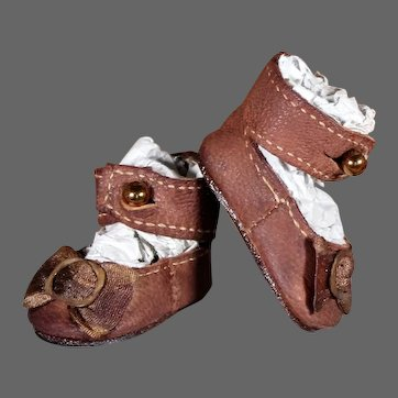 Brown Leather Bebe Shoes - 1.75 inches