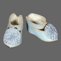 French Blue Jumeau Shoes for a size 5 Bebe, 2.2""