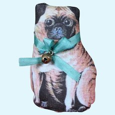 Small Cloth Pug, Silk collar and Bell for your Little Dolls, 2.5 inches