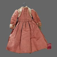 """Antique Dress for Early Doll, 13.25"""" long"""