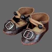 Larger Leather Shoes for Bru Bebe, 2.6 inches