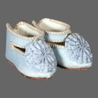 French Blue Jumeau Shoes for a size 4 Bebe, 2""