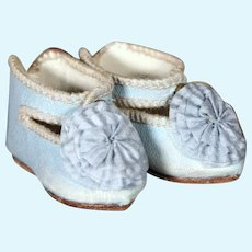 """French Blue Jumeau Shoes for a size 4 Bebe, 2"""""""