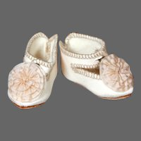 """Cream Leather Jumeau Shoes for a size 4 Bebe, 2"""""""