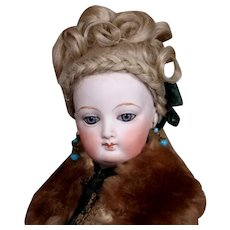 French Fashion Mohair Wig, Fancy Updo with Braid, size 7
