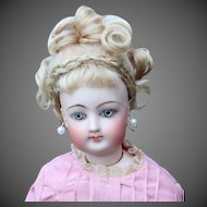 French Fashion Mohair Wig, Fancy Updo with Bangs, Braid, size 7